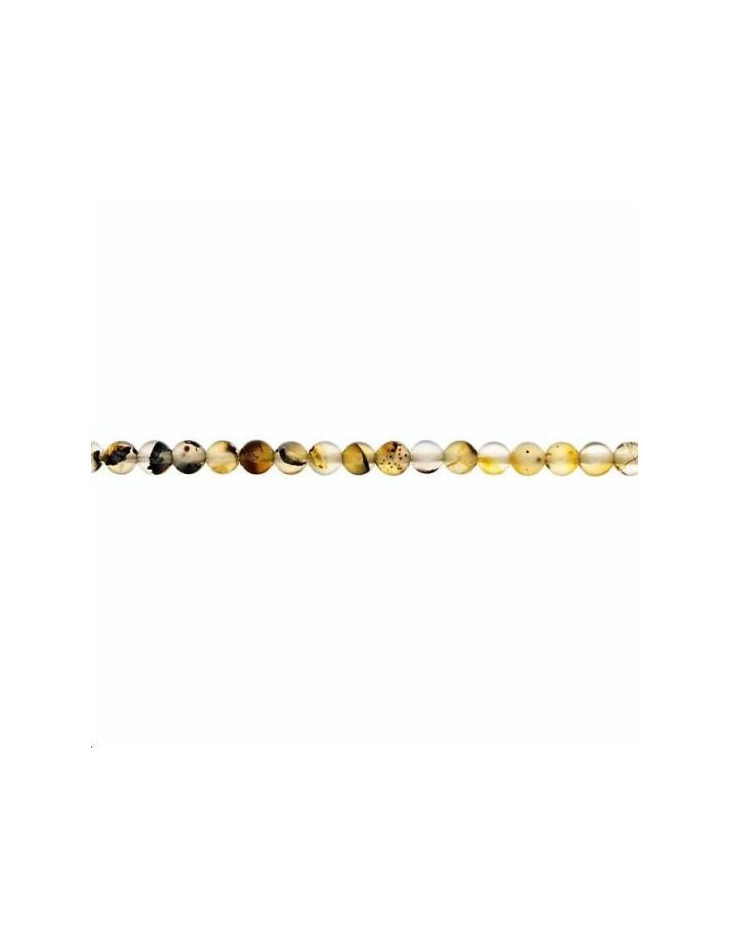Agate mousse du Montana ronde 3-4mm lot de 5 pièces