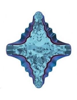 Cabochon Rhombus tribe 19x17mm aquamarine metallic blue Z foiled