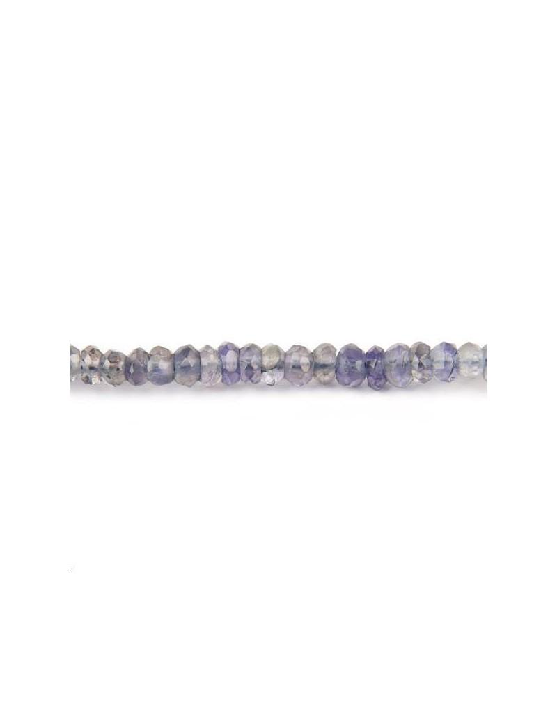 Lolite rondelle facettes 3-5mm lot de 5cm (environ 12 perles)