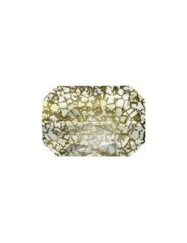 Emerald cut bead 14x9,5mm crystal gold patina