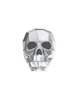 Skull bead 13mm crystal light chrome 2X