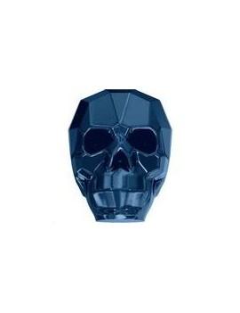 Skull bead 13mm crystal metallic blue 2x