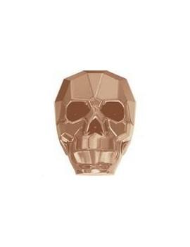 Skull bead 19mm crystal rose gold 2X
