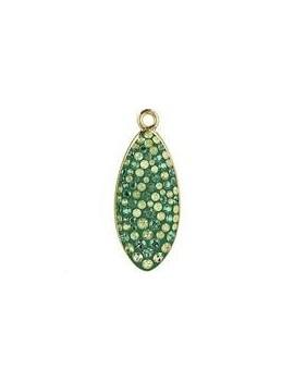 Pavé pendant goutte 20 mm erinite crystal luminous green. jonquil/ gold