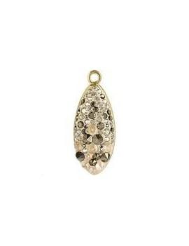 Pavé pendant goutte 20 mm crystal golden shadow .crystal metallic light gold /gold