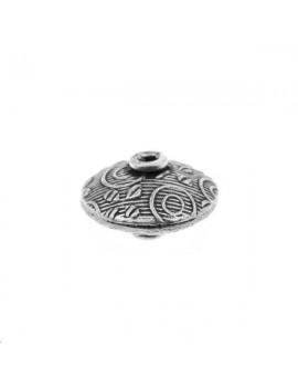 Perle plate décorée 7x12mm argent 925/000