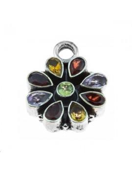 Pendentif fleur pierres semi-précieuses 16mm argent 925/000  (poids:  4,35gr)