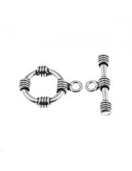 Fermoir T avec anneau 15mm argent 925/000  (poids:  3,1gr)