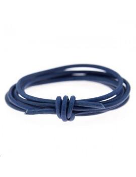 Cuir rond 1.3mm bleu foncé vendu au mètre