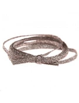 Cordon métallisé plat 2,5mm gris vendu au mètre