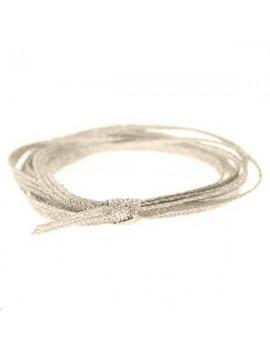 Cordon métallisé plat 2,5mm gris clair vendu au mètre