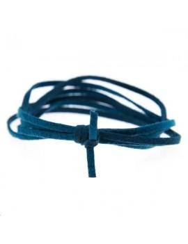 Suédine 2mm bleu canard