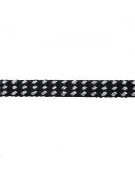 Ruban tubulaire métallisé 6mm noir