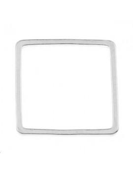 anneau fil carré 16x16x1mm plaqué argent
