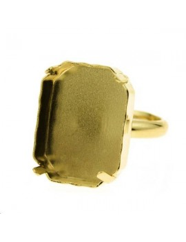 Octogone 18mm avec anneau de bague doré