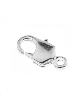 Fermoir mousqueton 12mm 1 anneau plaqué argent