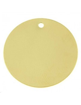 Pampille ronde plate 25mm 1 trou doré
