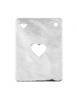 Carte martelée coeur 20x14mm 1 trou plaqué argent