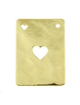 Carte martelée coeur 20x14mm 1 trou doré