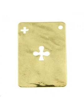 Carte martelée trèfle 20x14mm 1 trou doré