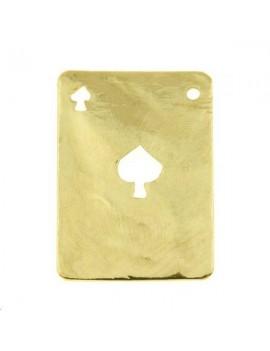 Carte martelée pique 20x14mm 1 trou doré