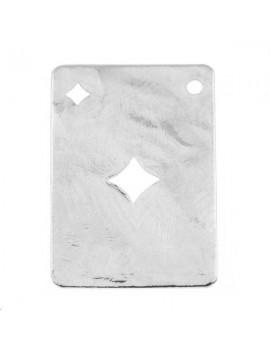 Carte martelée carreau 20x14mm 1 trou plaqué argent