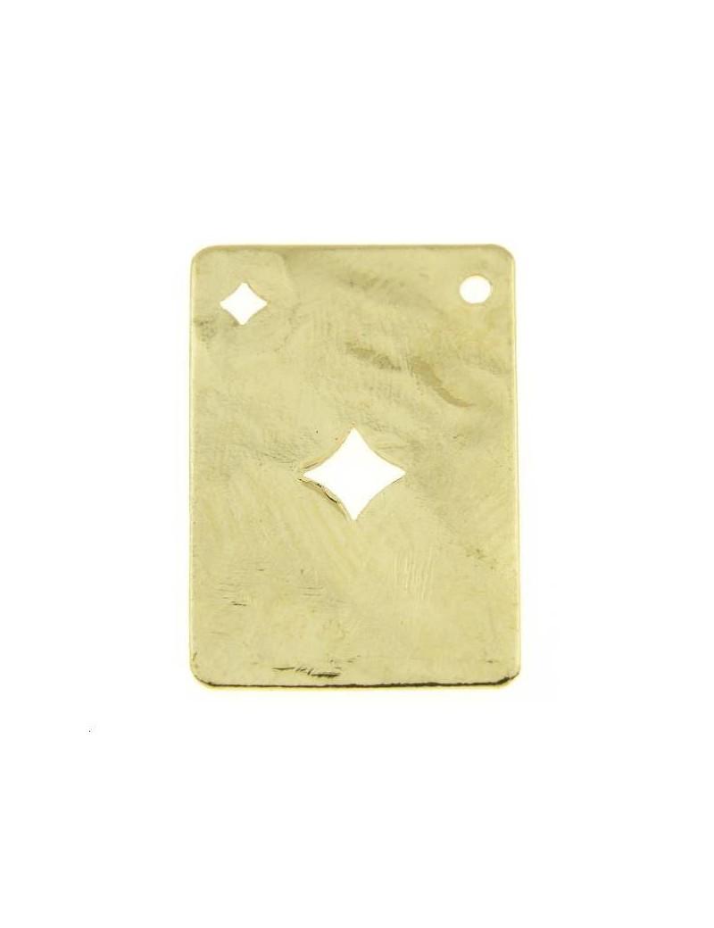 Carte martelée carreau 20x14mm 1 trou doré