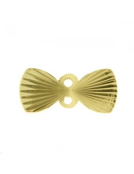 Noeud strié 13x6mm 2 anneaux doré