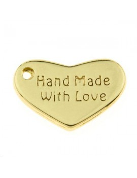 Pampille coeur gravé hand made with love 15x10mm doré