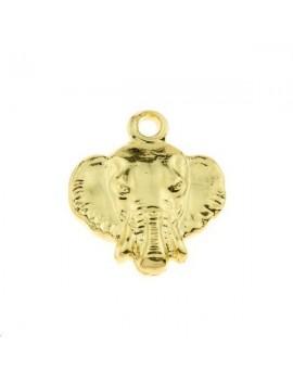 Pendentif tête d'éléphant 1 trou 10x10mm doré