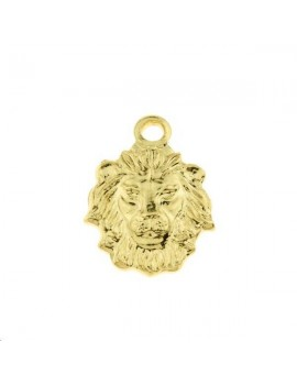 Pendentif tête de lion 1 trou 10x8mm doré