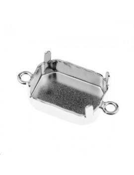 Sertissure pour octogone (4610) 14mm + 2 anneaux plaqué argent