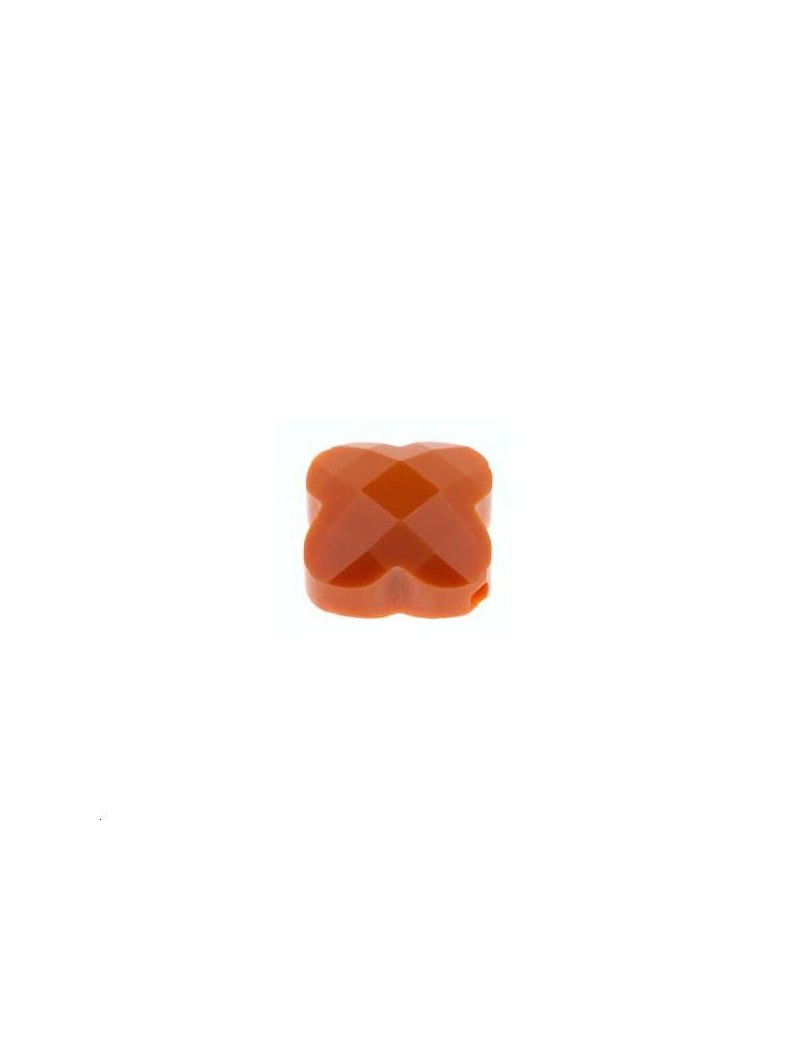 Trèfle verre facette 12x12mm orange