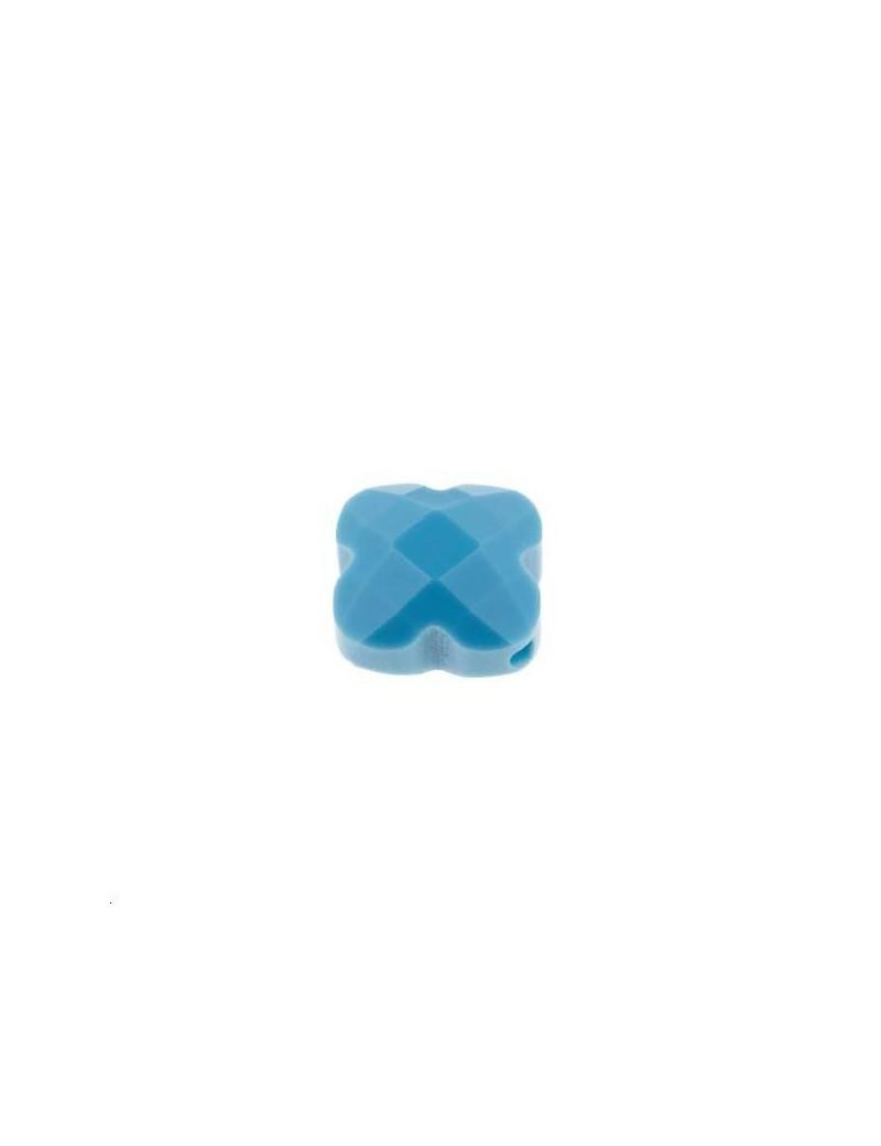 Trèfle verre facette 12x12mm turquoise