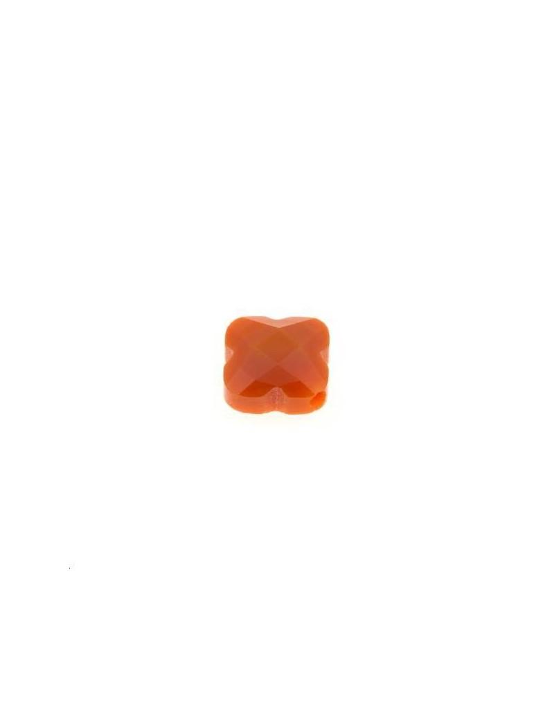 Trèfle verre facette 8x8mm orange