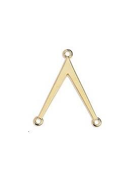 Distanciateur V 26x22mm 3 anneaux doré