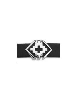 Passant géométrique croix 18x13mm argent vieilli pour cordon 10x2,5mm