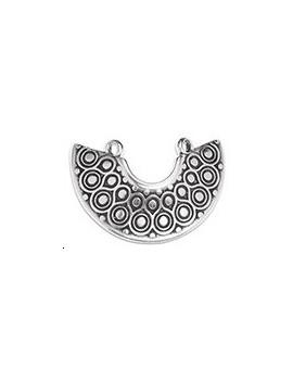 Pendentif forme plastron 24mm 2 anneaux argent vieilli