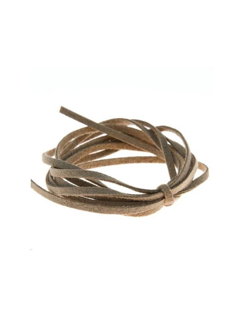 Suédine 2mm lin  vendue au mètre