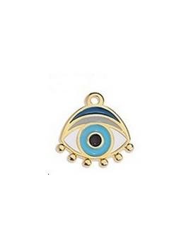 Pendentif œil émaillé bleu 16x16mm