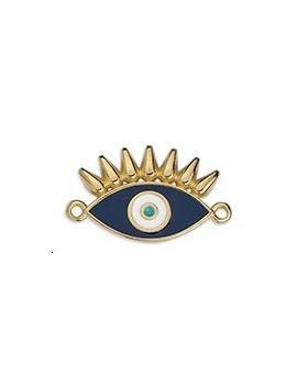 Pendentif œil émaillé cils bleu 26x15mm
