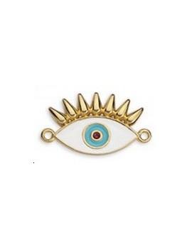 Pendentif œil émaillé cils blanc 26x15mm