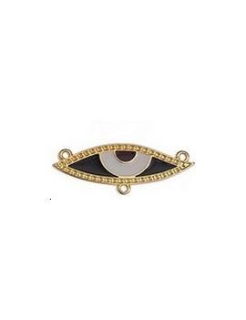 Pendentif il émaillé beige et noir 39x14mm 3 anneaux doré