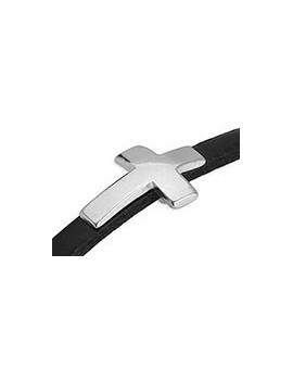 Passant croix incurvée 22x15mm argent vieilli pour cordon 5x2,5mm