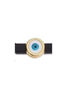 Passant rond émaillé œil blanc et bleu 6mm doré pour cordon 3x2mm