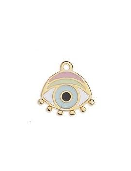 Pendentif œil émaillé rose et bleu pastel 16x16mm doré