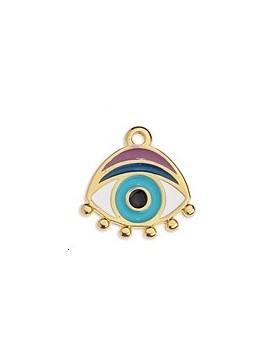 Pendentif œil émaillé bleu et violet 16x16mm doré