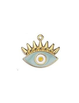 Pendentif œil émaillé cils bleu ciel 22x19mm doré