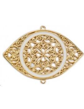 Pendentif œil byzantin décor ajouré 2 anneaux 78x47mm doré