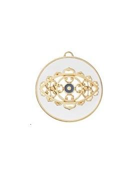 Pendentif cercle décor œil byzantin